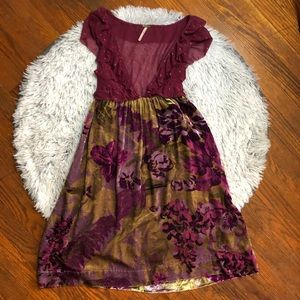 Free People Mesh Top Crushed Velvet Bottom Dress